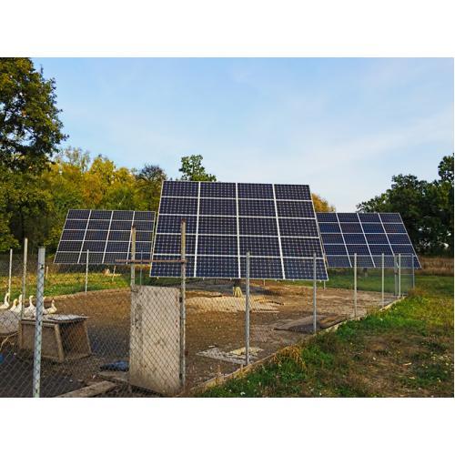 Солнечная электростанция мощность 15,6 с использованием трекеров слежения за солнцем с. Горобиевка