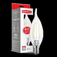 LED лампа MAXUS (filam), C37 TL, 4W, яркий свет,E14 (1-LED-540)