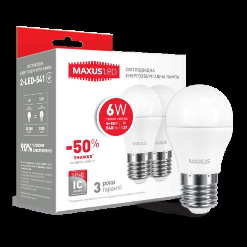Набор LED ламп MAXUS G45 6W мягкий свет 220V E27 (по 2шт) (2-LED-541)