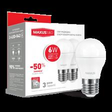 Набор LED ламп MAXUS G45 6W яркий свет 220V E27 (по 2шт) (2-LED-542)