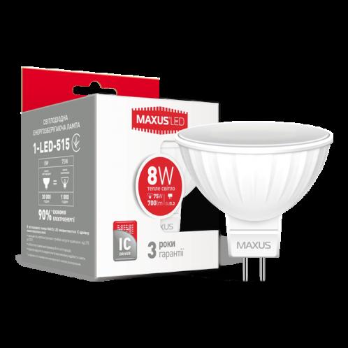 LED лампа Maxus MR16 8W тепле світло GU5.3 (1-LED-515)