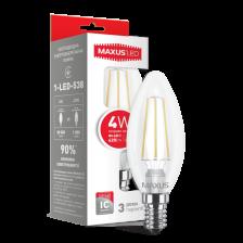LED лампа Maxus (filament) C37 4W яркий свет E14 (1-LED-538)