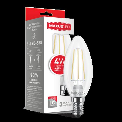 LED лампа Maxus (filament) C37 4W яскраве світло E14 (1-LED-538)