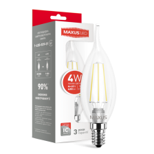 LED лампа MAXUS (filam), C37 TL, 4W, теплый свет, E14 (1-LED-539-01)