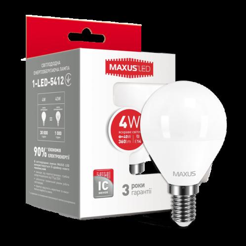 LED лампа MAXUS G45 F 4W яркий свет E14 (1-LED-5412)