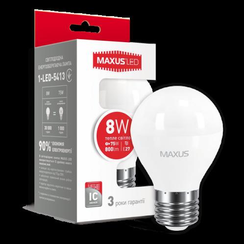 LED лампа MAXUS G45 F 8W теплый свет E27 (1-LED-5413)