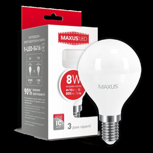 LED лампа MAXUS G45 F 8W яркий свет E14 (1-LED-5416)