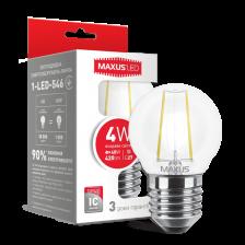 LED лампа MAXUS (filam), G45, 4W, яркий свет, E27 (1-LED-546)