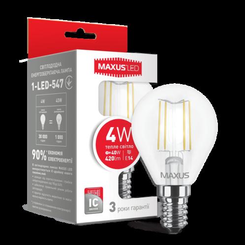 LED лампа MAXUS (filam), G45, 4W, мягкий свет, E14 (1-LED-547)
