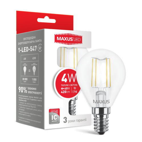 LED лампа MAXUS (filam), G45, 4W, м'яке світло, E14 (1-LED-547)