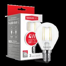 LED лампа MAXUS (filam), G45, 4W, яркий свет, E14 (1-LED-548)