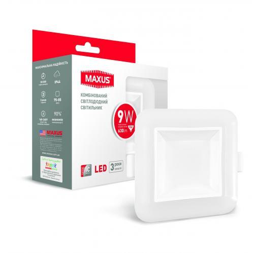 Точечный светодиодный светильник MAXUS 3-step 9W 3000/3500/4100K квадратный