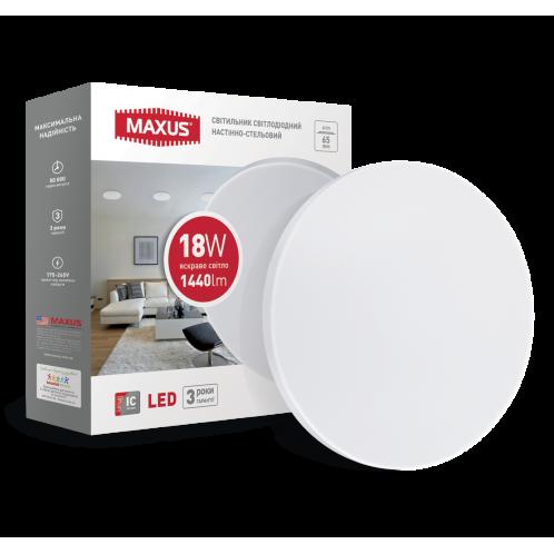 Светодиодный светильник накладной MAXUS 18W 4100K круг