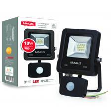 LED Прожектор MAXUS 10W, 5000K с датчиком движения