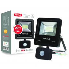 LED Прожектор MAXUS 20W, 5000K с датчиком движения