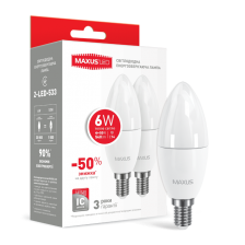 Набор LED ламп MAXUS С37 6W мягкий свет 220V E14 (по 2шт) (2-LED-533)