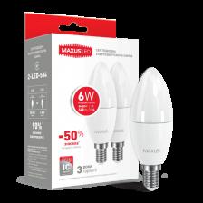 Набор LED ламп MAXUS С37 6W яркий свет 220V E14 (по 2 шт) (2-LED-534)