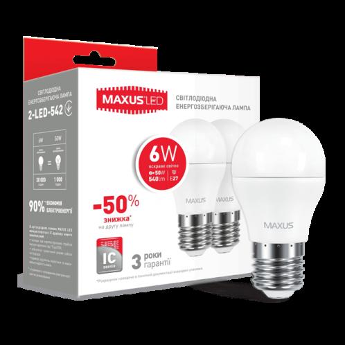 Набор LED ламп MAXUS G45 6W яскраве світло 220V E27 (по 2шт) (2-LED-542)