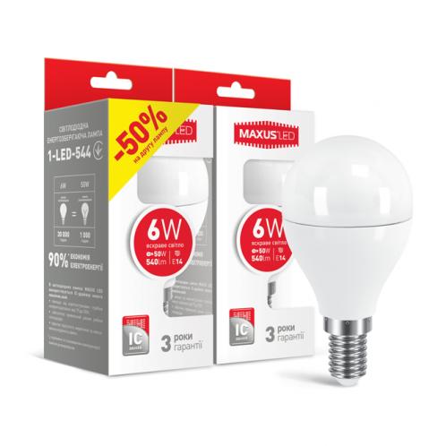 Набір LED ламп Maxus G45 6W яскраве світло E14 (2-LED-544)