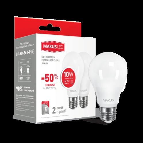 Набор LED ламп MAXUS A60 10W мягкий свет 220V E27 (по 2шт) (2-LED-561P)