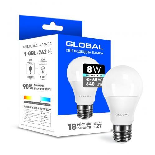 Світлодіодна лампа Global A60 8W яскраве світло E27 (1-GBL-262)